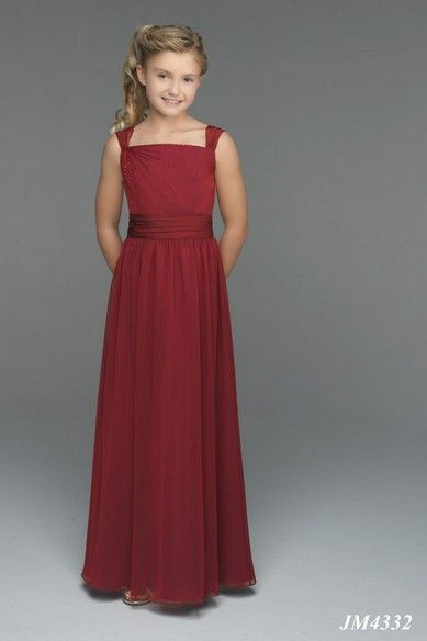 A Line Strapless Natural Waist Pleated Long Chiffon Spaghetti Straps Red Junior Bridesmaid Dresses