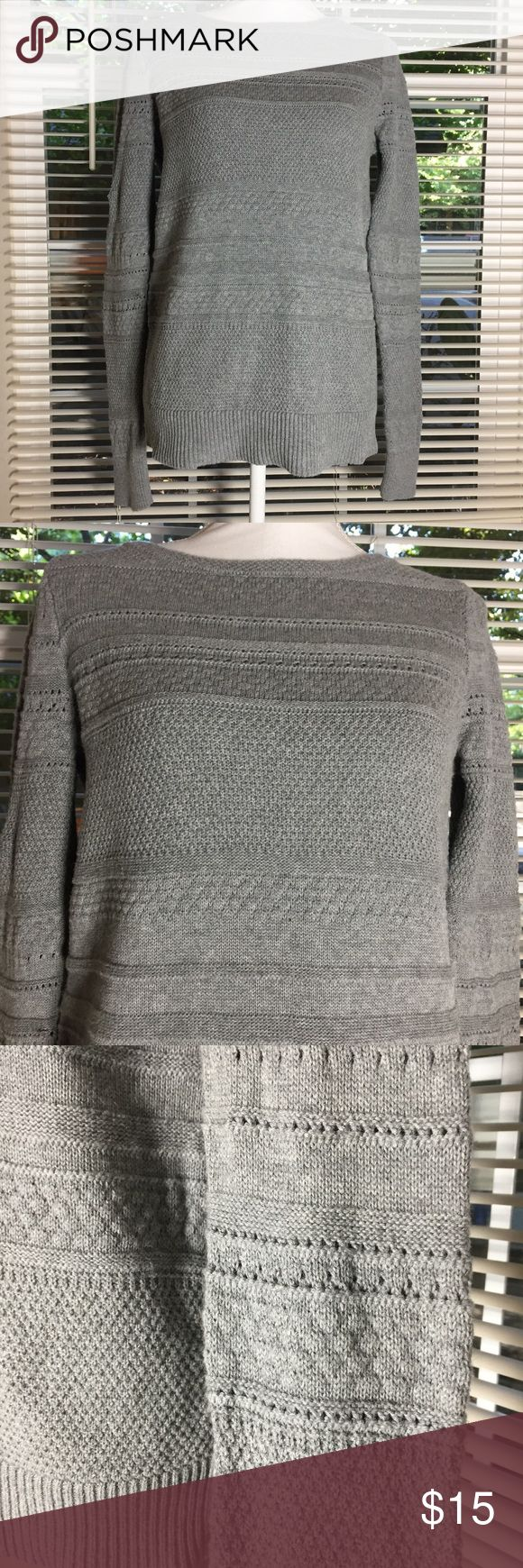 "Loft Women's Crewneck Sweater Size small. Gray knit sweater. Machine washable cotton. Very good condition. Bust measures 41"". Length is 25"". (9) LOFT Sweaters Crew & Scoop Necks"