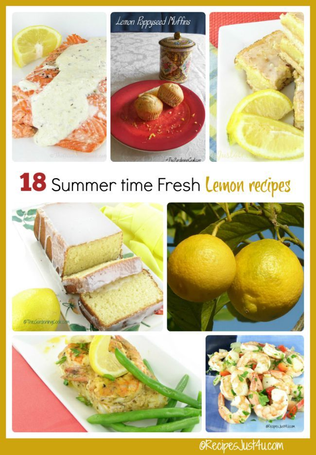 I love the tart flavor of lemons in recipes. These summer time fresh recipes all have lemons as the star.
