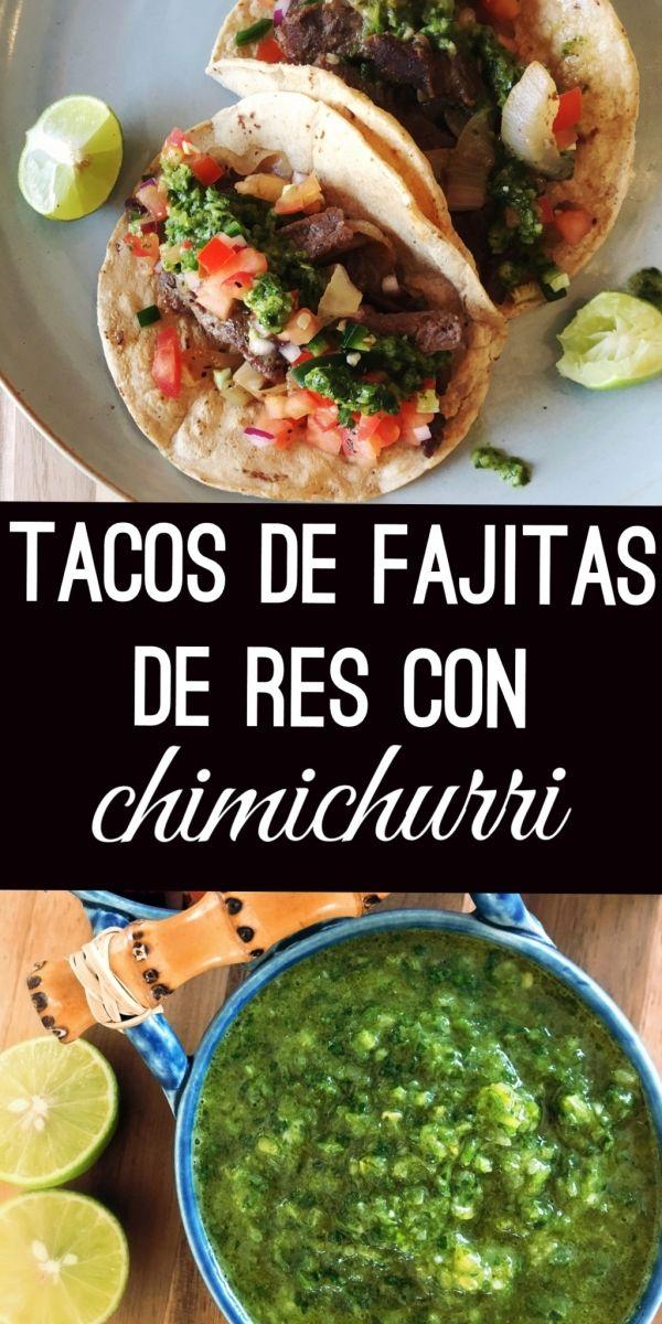 Tacos de Fajitas de Res con Chimichurri / Tiras de carne de res con cebolla caramelizada servidas en tacos, acompañados con salsa chimichurri de cilantro, la tradicional salsa bandera y limón.
