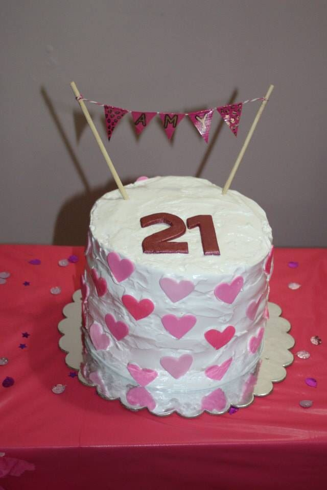 Amy's 21st birthday cake. Pink layer cake with marshmallow frosting.