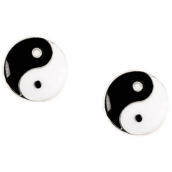 Black and White Enamel Yin Yang Stud Earrings | Claire's ($35) ❤ liked on Polyvore featuring jewelry, earrings, stud earring set, black and white earrings, claire's, claires jewelry and stud earrings