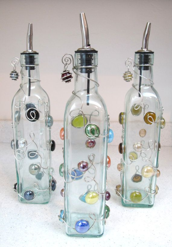 Keep Olive Oil In A Decorative Bottle Next To Your Stove Serve Olive Oil And Vinegar At The Dinner Table An Bead Bottle Bottles Decoration Dish Soap Dispenser