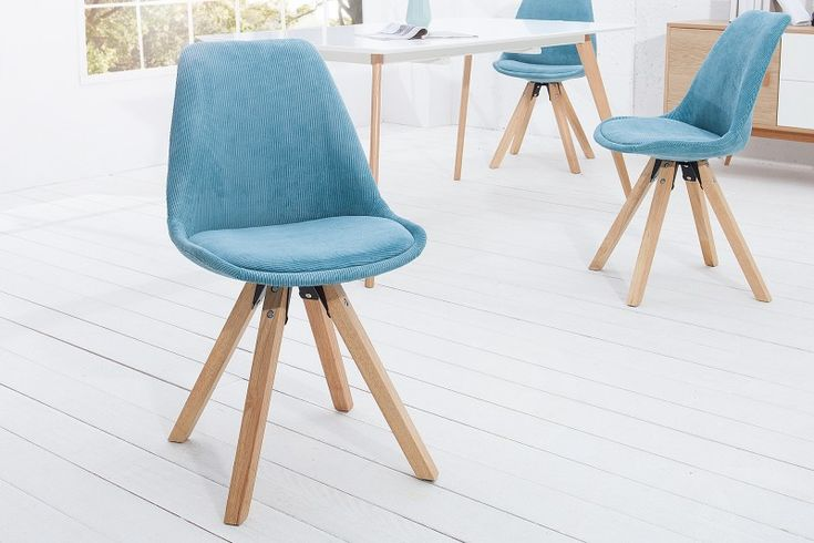 Jedálenská stolička SCENER CORD TYRKYS. Dinning chair in blue fabric with wood.