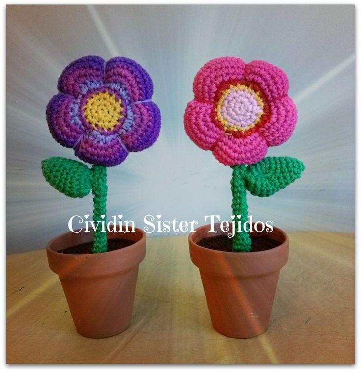 1000 images about flores tejidas on pinterest patrones - Macetones de barro ...