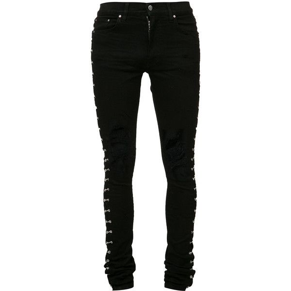 Amiri Ripped Knees Skinny Jeans ($2,083) ❤ liked on Polyvore featuring men's fashion, men's clothing, men's jeans, mens distressed skinny jeans, mens ripped jeans, mens distressed jeans, mens destroyed jeans and mens ripped skinny jeans