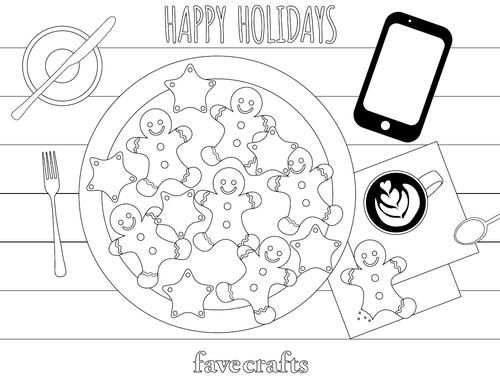 Coffee And Cookies Christmas Coloring Page Christmas Coloring