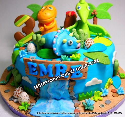 dinosaur birthday cakes for boys | Dinosaur Jungle Theme With A Monkey — Childrens Birthday Cakes Cake ...