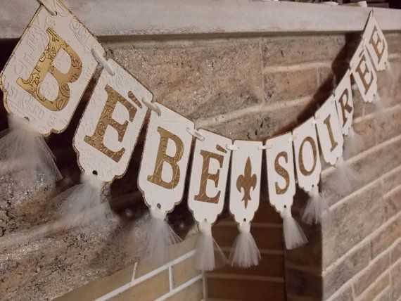 Bebe Soiree Banner French Baby Shower Banner Embossed Banner with Tulle in Ivory and Antique Gold on Etsy, $22.00