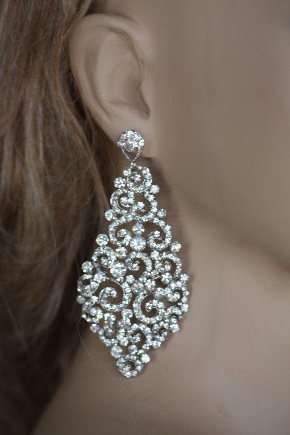 Bridal Earrings, Swarovski Crystal Earrings, Wedding Chandelier Earrings, Statment Earrings, Large Earrings (Kamilita)