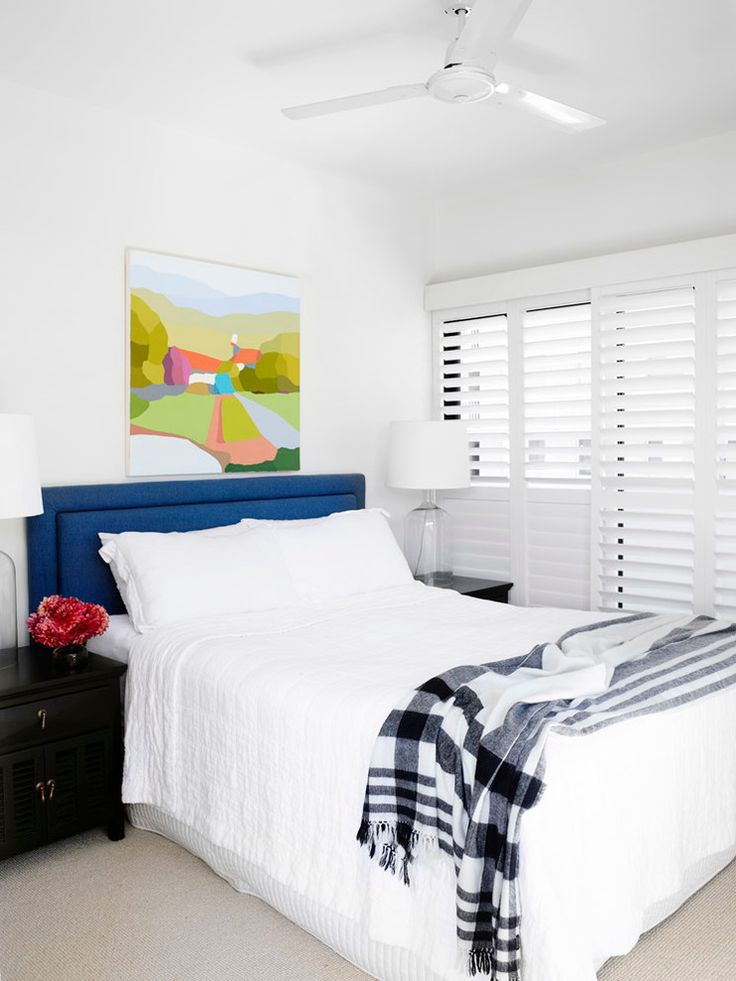 Glamorous Venetian Blinds mode Brisbane Transitional Bedroom Innovative Designs with apartment bed head Bedroom bedside table black and white throw blue headboard ceiling fan