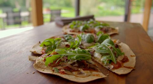 Tom Kerridge's easy pizza with crispy tortillas recipe on Lose Weight For Good