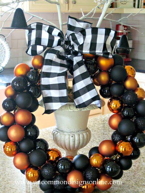 "A ""Classic"" Halloween Ornament Wreath { A Tutorial } - Uncommon Designs..."