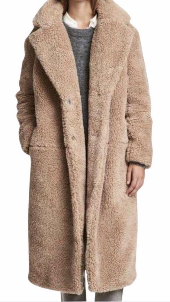 8e035b2344689 H M FAUX TEDDY FUR LONG COAT TAN SOLD OUT BNWT SIZE Small Kim Kardashian   fashion  clothing  shoes  accessories  womensclothing  coatsjacketsvests ( ebay ...