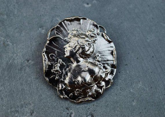 Vintage Art Nouveau Silver Brooch by PrettyDifferentShop on Etsy