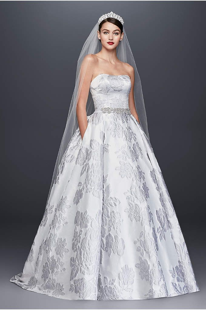 Floral Brocade Ball Gown Wedding Dress This Oleg Cassini Wedding