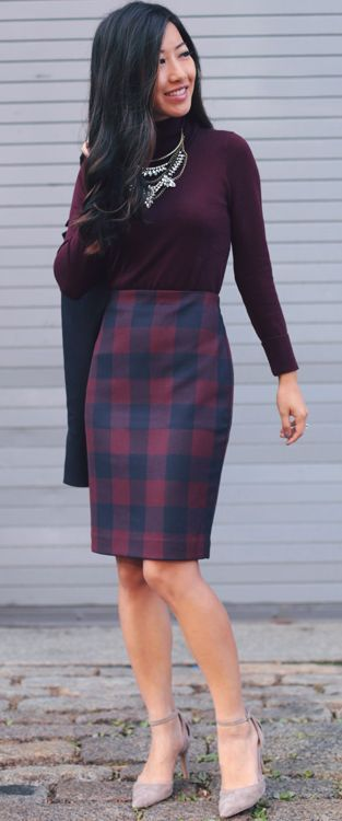Tartan Plaid Pencil Skirt Fall Streestyle Inspo by Extra Petite