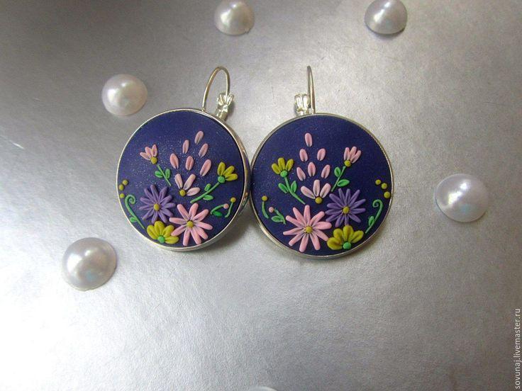 """Купить Серьги """"Полевые цветы"""", в технике филигрань - комбинированный, филигранные серьги, филигрань"""