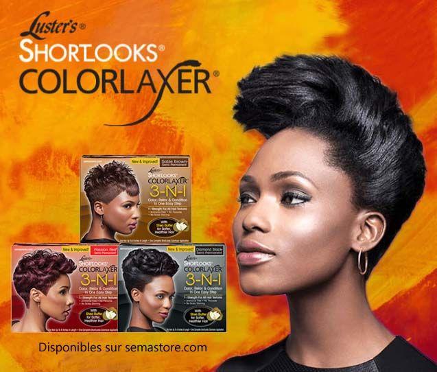 Les Kit ShortLooks Colorlaxer 3-IN-1 Sable Brown BRUN™,  Passion Red ROUGE™  et  Diamond Black NOIR™ Couleur Semi-permanente sont conçue pour les cheveux de 2.5 cm à 10 cm de long.  Ce sont des kits Coloration, Défrisage et Soin Nourrissant 3 en 1 de la gamme Luster's Shortlooks Colorlaxer. #coloration #color #cheveuxdefrises #relaxedhair