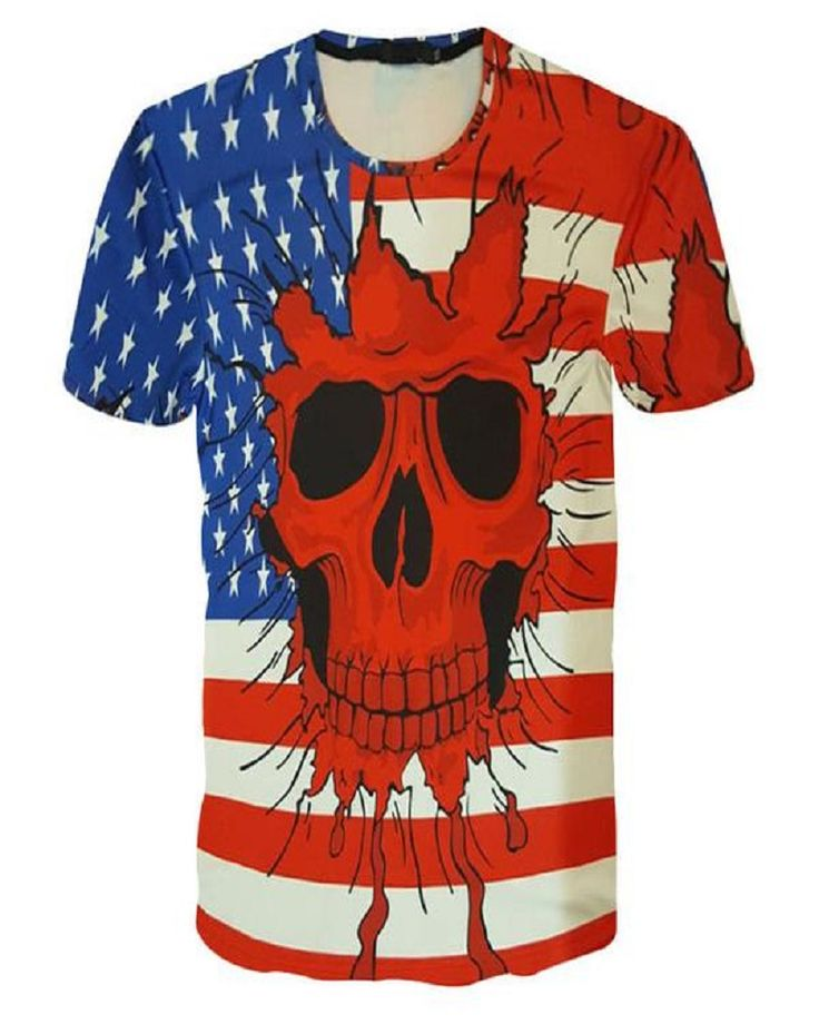 USA Flag Skull Print Men's Casual 3D T-shirt Tops Ted White Blue Size Up To Asian XXL = USA Size
