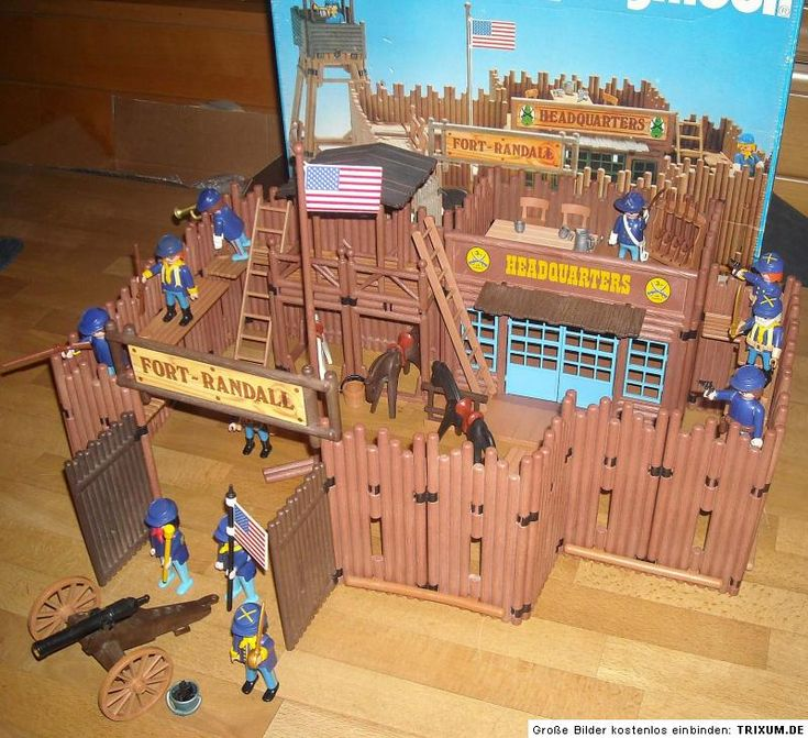 Playmobil 3419 vintage 80 s western fort randall boxed lgb for Plan chateau fort playmobil
