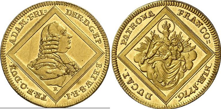AV Ducat. Germany Coins, Wurzburg, Bishopric. Adam Friedrich von Seinsheim 1755-1776. 1776. 3,47g. F 3725. Uncirculated. Starting price 2011: 1.200 USD. Unsold.