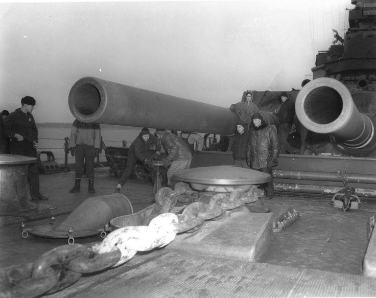 View aboard USS Alabama, 1943