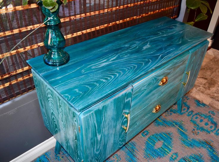 My custom cerused oak piece using aniline dye and white stain. Love my turquoise!