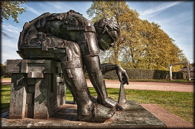Eduardo Paolozzi's sculpture, Master of the Universe.    Photographed in the grounds of The Dean Gallery, Edinburgh, Scotland.    ---------------------------------------------------------------------- -----------------------------------------------------