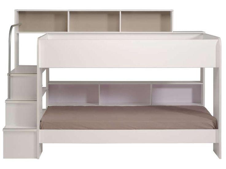 Lit superposé 90x200 cm blanc BIBOP Coloris blanc - Vente de Lit Bébé - Conforama