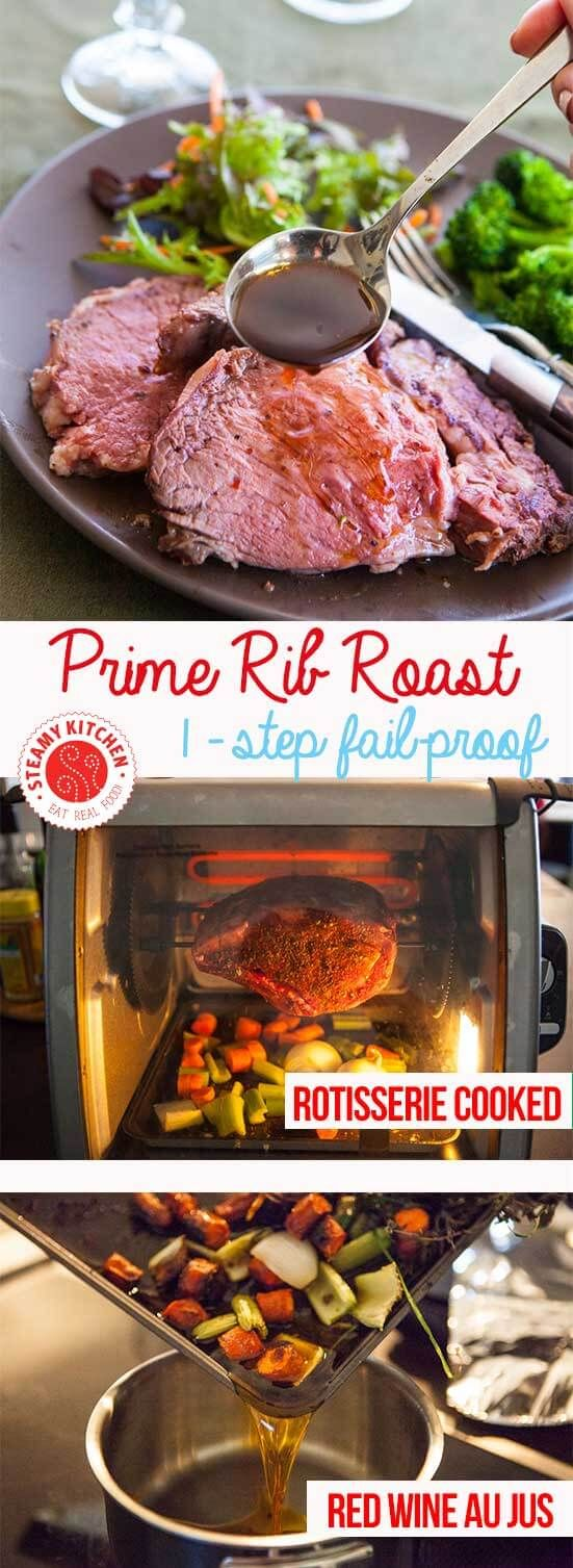 Just 1 step, fail-proof Prime Rib Roast Recipe. Use a rotisserie for 1-step cooking! ~ http://steamykitchen.com