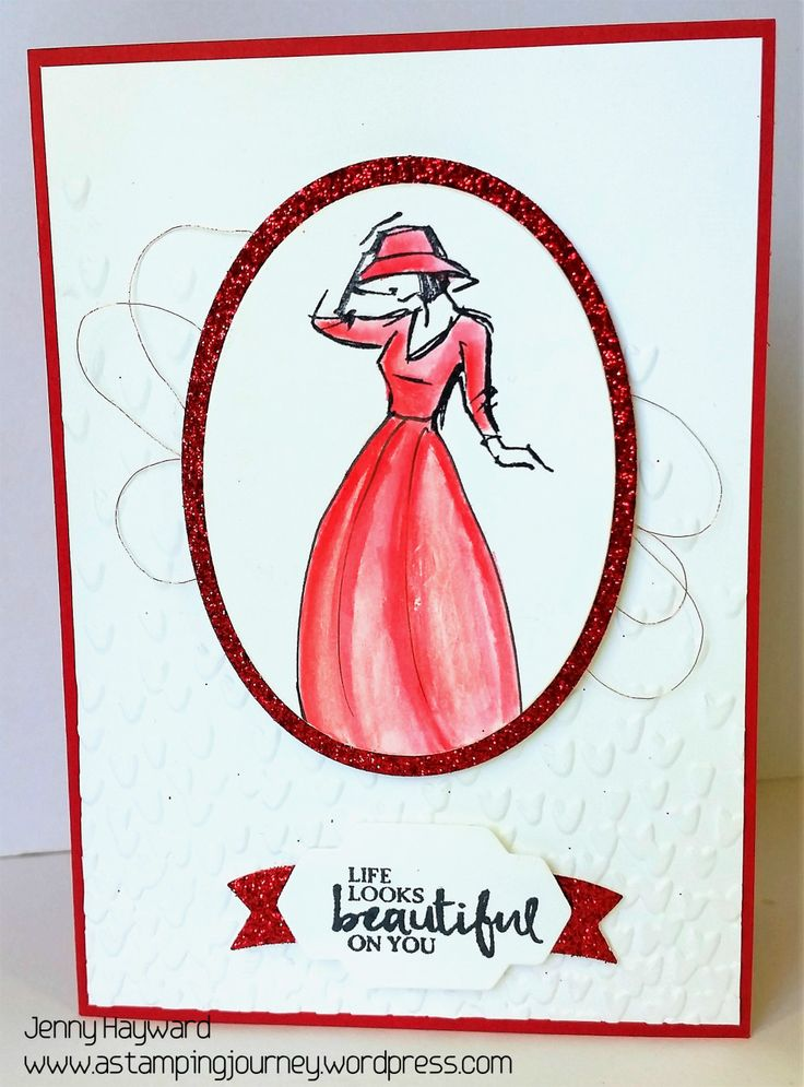 Stampin' Up! Beautiful You lady.  Step by Step Tutorial included to change the dress line #beautifulyou #stampinupaustralia