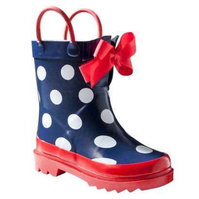 Toddler Girls' Cherokee® Uta Rain Boots - Navy Dot w/ Red Ribbon.Opens in a new window $23