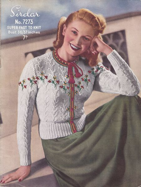 1940s Sirdar 7273 knitting pattern for a Tyrolean style Cardigan