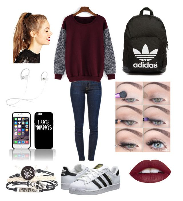 School outfit for teens by xshewolfx on Polyvore featuring polyvore, fashion, style, Frame Denim, Beats by Dr. Dre, adidas Originals, ASOS, women's clothing, women's fashion, women, female, woman, misses and juniors