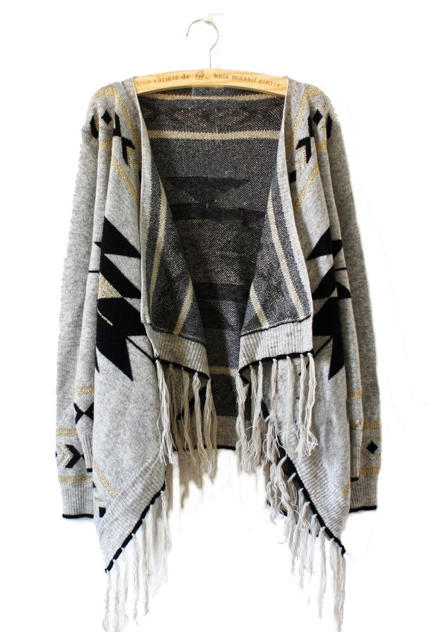 Light Grey Tribal Geometrical Pattern Fringe Hem Cardigan - Sheinside.com with jeans and cowboy boots: Tres Chic!