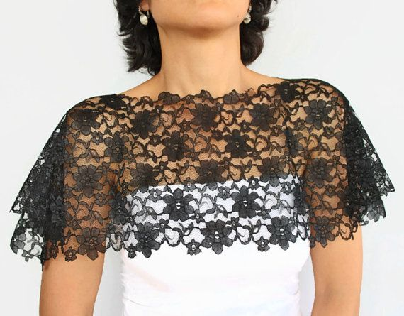Black Lace Shrug Capelet Bridal Cover Up Off By