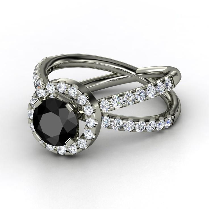 Round Black Diamond 14K White Gold Ring with Diamond ...