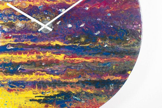 2016 Extra Large wall clock,Large Glass Wall Art,Oversized Circular Clock,Abstract wall art,Contemporary Clock,Unique Wall Light, Large Abstract Art - by ReformationsUk on Etsy  ( PLEASE ZOOM IN TO SEE THE FULL EFFECTS AND COLOURS )  Created by using paints with a higher pigment content on specially prepared glass  Embracing a sense of natural chaos, this is guaranteed to make a bold statement in any, post-modern setting.  Each, unique piece fuses flourishes of colour to produce an effect…