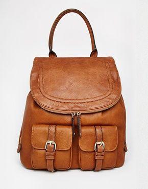 ALDO – Hellbrauner Rucksack mit Henkel oben und zwei Taschen