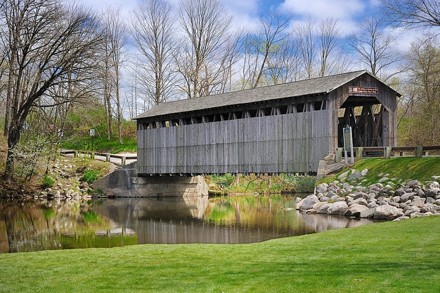 """Reflecting Spring"" Fallasburg Covered Bridge - Lowell, Michigan by Michigan Nut, via Flickr"