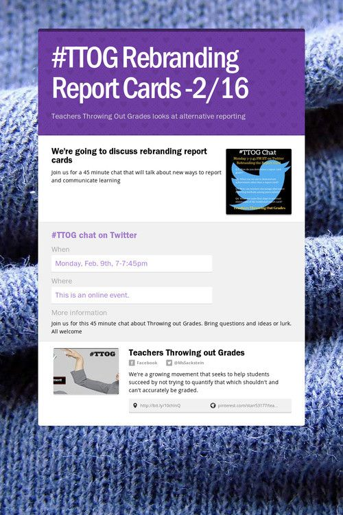 Help spread the word about #TTOG Rebranding Report Cards -2/16. Please share! :)