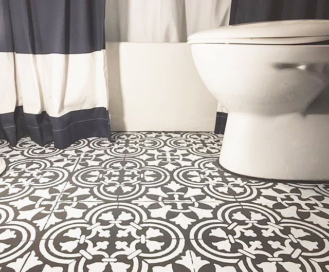 bathroom tile stencils a diy budget friendly floor makeover painte and stencil 11702