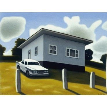 Cottage with Parked Valiant by Reg Mombassa