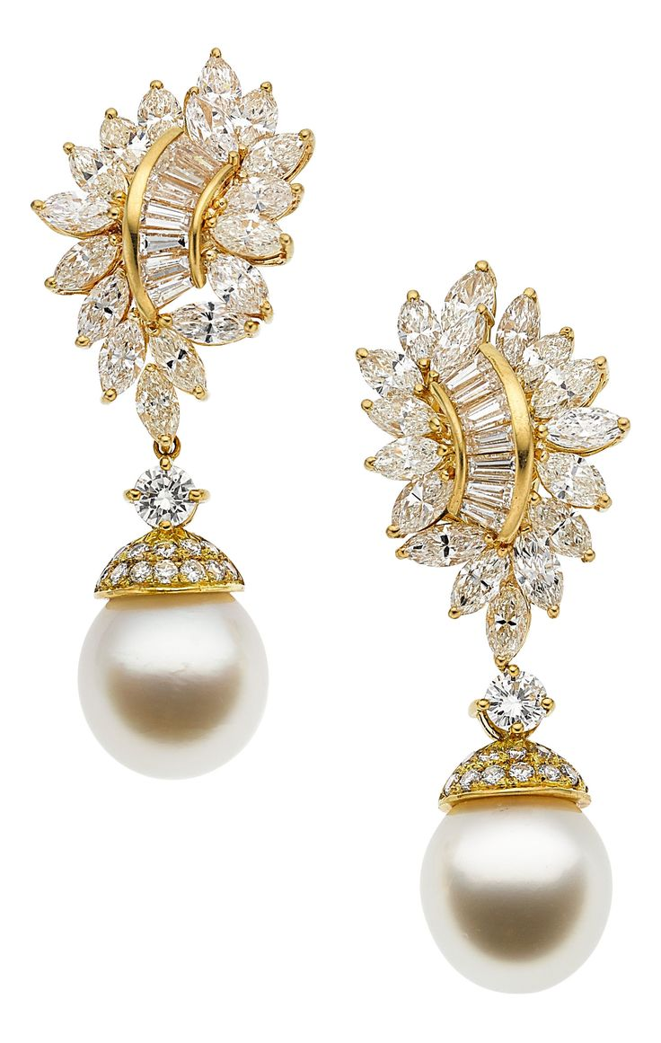 South Sea Cultured Pearl and Diamond Gold Earrings