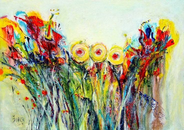 FV873, a Acrylic on Canvas by Radek Smach from Czech Republic. It portrays: Abstract, relevant to: positive, color, Rianbow, abstract, flowers Original abstract painting on canvas. Mixed media, structural.  Ready to hang. No framing required (it can be framed). The sides of the painting are painted.
