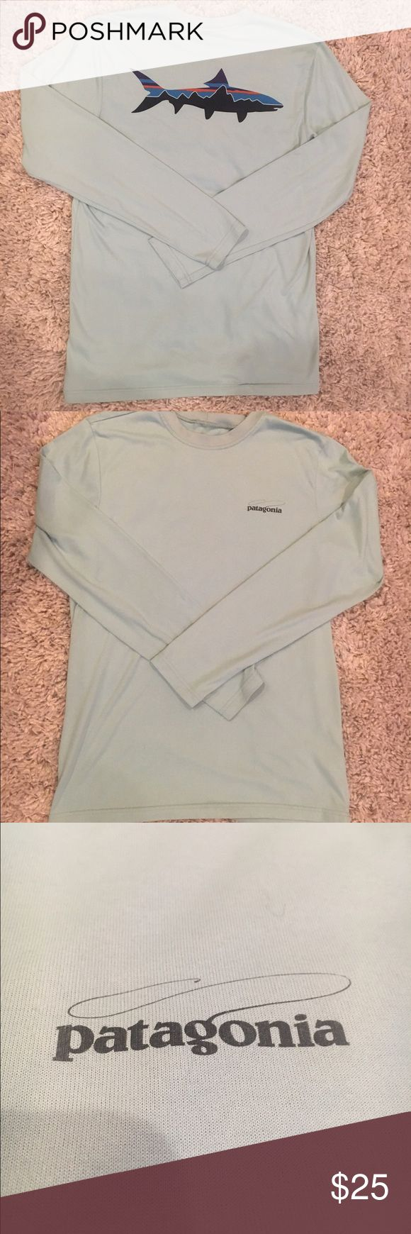 Patagonia Men's Graphic Tech Fish Tee The best of both worlds: a comfortable T-shirt fit in a technical, fast-drying 94% polyester/6% spandex blend with 50+ UPF sun protection, Polygiene® permanent odor control and original fishing-inspired graphics. Patagonia Shirts Tees - Long Sleeve