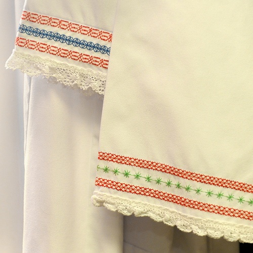 Embroidery and trim on the women's Thracian underdress.