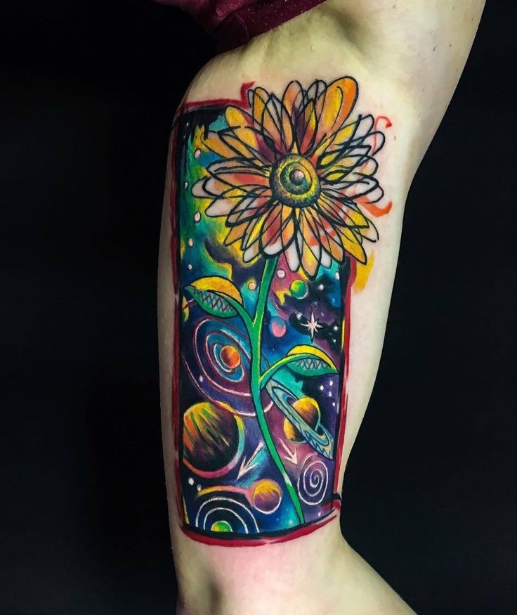 #amazing #abstract #sunflower #space #galaxy #planet #start #color #awesome #design #tattoo #ink