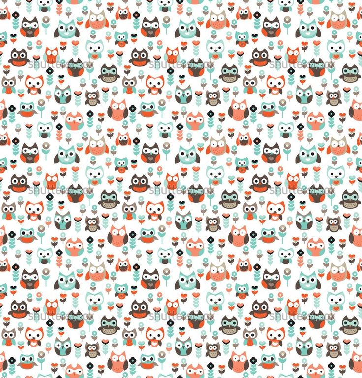 Example image of Seamless vintage little owls background pattern pastels illustration for boys in vector